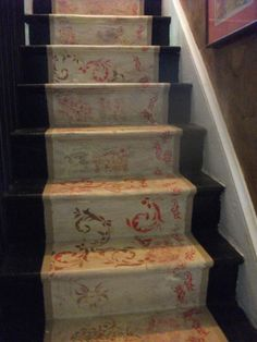 Painted staircase, done with floor paint and stencils