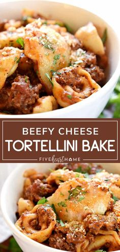 An easy weeknight meal you can make without the fuss Beefy Cheese Tortellini Bake is a family favorite loaded with tortellini marinara sauce and mozzarella cheese A great way to sneak in vegetables for a pasta dish kids will surely love Try it for dinner Easy Pasta Recipes, Meat Recipes, Real Food Recipes, Cooking Recipes, Easy Main Dish Recipes, Recipies, Noodle Recipes, Yummy Food, Beef Dishes