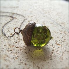 Glass Fall Acorn Necklace Jewelry - Olivine with Goldstone by Bullseyebeads