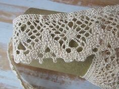 SELL by YARD Crochet Lace Trim Cream Color by VintageSouthernPicks