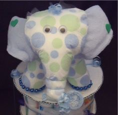 Blue ELEPHANT Baby Shower Diaper Cake TOPPER Decorations