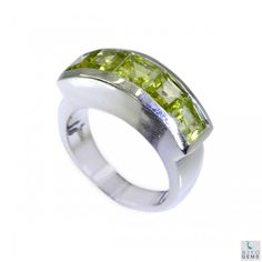 Riyo Intimidating Peridot 925 Solid Sterling Silver Green Ring Srper7.2-58017
