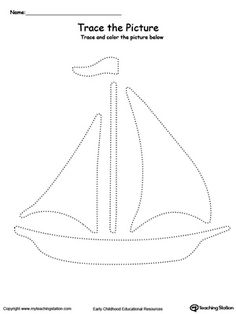 Boat Picture Tracing: Reinforce fine motor skills in your preschool child by tracing lines and coloring the picture. Tracing Practice Preschool, Tracing Worksheets, Preschool Worksheets, Preschool Activities, Pirate Activities, Motor Activities, Kindergarten Drawing, Boat Theme, Boat Crafts