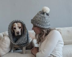 pom pom knit hat and cowl hand knit set infinity by BlueAlmaKnits
