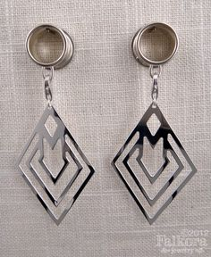 Dangle Plugs, Tunnels, Geometric silver dangles. $78.00, via Etsy.