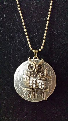 Steampunk Owls on a Clock Necklace by KreationsByKimH on Etsy, $16.00