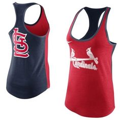 I HAVE GOT TO HAVE THIS!!!! Nike St. Louis Cardinals Women's Tri-Blend Loose Fit Racerback Tank - Navy Blue/Red