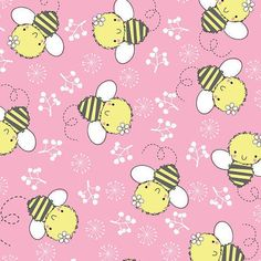 Izzy the Bee on a bubble-gum pink background is part Camelot Cotton's Theodore & Izzy quilt fabric line. White Tulips, Pink Tulips, Pink Bedding, Quilt Bedding, Fabric Ribbon, Cotton Fabric, Bee Crafts, Pattern Paper, Paper Patterns