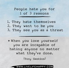 People hate you for 1 of 3 reasons: 1. They hate themselves 2. They want to be you 3. They see you as a threat