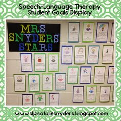 Great for the first week back in therapy!  FREE student speech language goal display.