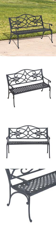 Delightful Benches 79678: 40 Garden Bench Cast Aluminum Patio Chair Outdoor Furniture  Deck Porch Yard