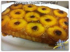 JUSTIN WILSON'S PINEAPPLE UPSIDE DOWN CAKE   1/4 lb. butter 1/2 c. firmly packed brown sugar 6-9 pineapple rings (reserve 1/2 c. juice). For directions please click photo
