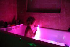 glow sticks in the tub.
