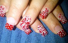 Diseños de uñas pinceladas manos y pies, diseño de uñas pinceladas lazos.   #diseñatusuñas #acrylicnails #uñasbonitas