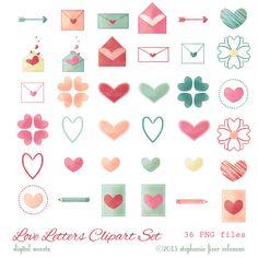 Love Letters Clipart Set