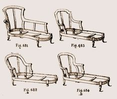 Chaises longues lambrequin, crapaud, Marie Antoinette et Pompadour