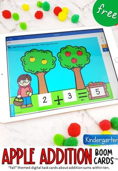 These FREE apple addition digital task cards help kids solve addition sums within ten by counting the apples on the trees. Great for Kindergarten math centers. This game may be relevant to some students in preschool or first grade too. #digitallearning #boomcards #additionboom cards #additionwithinten #kindergartenmath #boomlearning #kindergartenaddition #distancelearning #preschool #firstgrademath #homeschoolmath Apple Activities, Math Activities For Kids, Fun Math, Kids Learning, Teaching Resources, Classroom Activities, Teaching Ideas, Subtraction Activities, Apple Unit