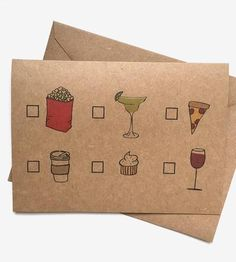 Choose your own adventure with these playful cards, which come packed with hangout suggestions. Check the box for a movie date, Mexican fare, pizza, coffee, sweets or wine and share with a friend, family member or somebody special. This set includes five in this design, to set up five different adventures to catch up with folks you love.