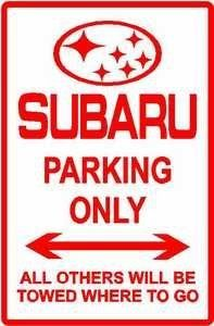 SUBARU PARKING sign street car auto import by Texsign. $21.95. Long Lasting. MADE IN USA. Brand New Sign. Easy to install. GREAT Gift idea. SUBARU PARKING ONLY SIGN. A BRAND NEW SIGN!!! Made thick 0.040 aluminum and tough cast vinyl, this sign is 12in. wide and 18in. tall - just like an official parking sign. Made to last for years outdoors, it will also make a great indoor display. Comes with holes pre-punched for easy installation, corners are rounded. Buyer to pay $7.0...