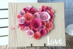Easy Spiral Paper Flower Heart - Canary Street Crafts Curl paper flowers and glue them to a burlap canvas. Would be cute for Valentine's Day or even as wedding or bridal shower table decor. Paper Flower Wall, Paper Flowers Diy, Flower Crafts, Rolled Paper Flowers, Wall Flowers, Valentines Day Decorations, Valentine Day Crafts, Valentine Heart, Heart Decorations