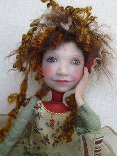 Folk Art Doll Red Shoes Doll OOAK | eBay