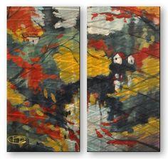 'Creek Bend' by Kip Decker 2 Piece Painting Print Plaque Set