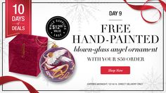 Day 9 of Avon's 10 Days of Deals FREE hand-painted blow-glass angel ornament with your $50 order  https://lyndafischer.avonrepresentative.com/