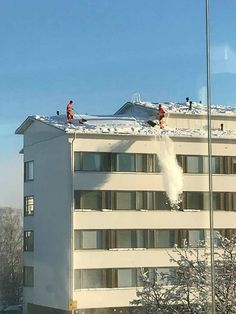 Two guys dropping snow from a roof without a safety rope or harness #forklift #osha #forkliftlicense #forklifttraining #forkliftcertification #forkliftlabs #safety
