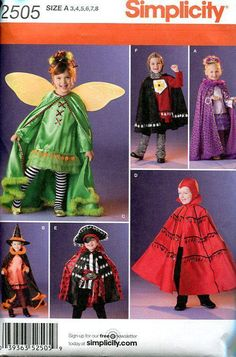 FREE US SHIP Sewing Pattern Simplicity 2505 Boy Girl Pretend Play Costume 2010 Halloween Pirate Renaissance Medieval Fairy Devil Witch 3/8 by LanetzLivingPatterns on Etsy
