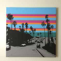 """Tourmaline Surf Park"" (24 x 24 inch) computer art on canvas. Tags: pop, art, San Diego, La Jolla, Pacific Beach, Surf, Surfer, Surfing"