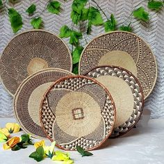 Beautiful Set of 5 Handmade Binga Baskets. African Wall Basket. 50cm,46cm,40cm,30cm #BohemianWallDecor #BatongaWallBaskets #TribalWallDecor #GokweBingaBasket #TribalWallBasket #HandmadeWallBasket #BingaWallBaskets #AfricanDecor #HandwovenWallDecor #AfricanWallDecor Wall Basket, Baskets On Wall, Bohemian Wall Decor, Bed Wall, Wall Hanger, House Warming, Living Room Decor, Decorative Plates, Hand Weaving