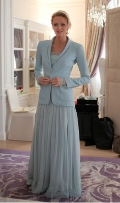 Princess Charlene, blue Akris suit worn to the civil ceremony. In Monaco, the ruling royal couple must have both a civil ceremony and a formal religious ceremony,