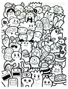 A doodle with funny characters, simple to color., from the gallery : doodling / doodle art, artist : bon janapin Cute Doodle Art, Cool Doodles, Doodle Art Drawing, Simple Doodles, Art Drawings, Doodle Doodle, Doodle Art Name, Doodle Kids, Doodle Sketch
