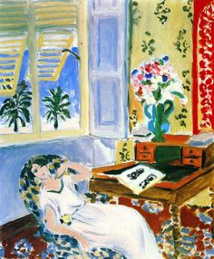 Interior in Nice, a Siesta Henri Matisse - 1922 Musee National d'Art Moderne - Paris (France) Painting - oil on canvas Height: 66 cm (25.98 in.), Width: 54.5 cm (21.46 in.)