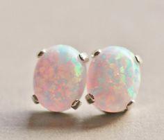 Australian Opal Gemstone EarringsWhite Opal Post EarringsLab