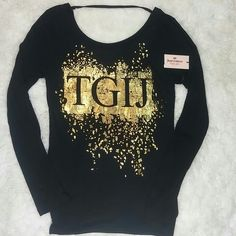 "JUICY COUTURE Gold TGIJ top 26"" long from shoulders, scoop back NWT. Light weight long sleeve top Juicy Couture Tops Tees - Long Sleeve"