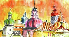 The Magical Roofs of Prague 01 bis. Artist:Miki De Goodaboom. Medium:Painting - Watercolour And Ink