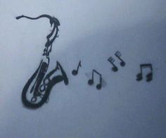 Saxophone I copied. Drawing is pretty small (2-3 inches tall, 3-4 across).