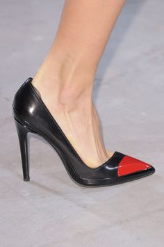 Anthony Vaccarello Black Pumps with Red Toe Fall 2014 #Shoes #Heels