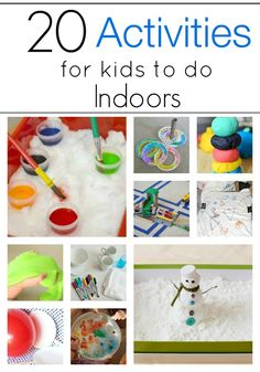 Perfect for this weather!! 20 Indoor Crafts & Activities for kids! Click to see all at thepinningmama.com