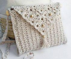 Simple patterns to crochet delicate white handbag Bag Crochet, Crochet Shell Stitch, Crochet Handbags, Crochet Purses, Love Crochet, Crochet Gifts, Crochet Yarn, Crochet 101, Pochette Portable Couture