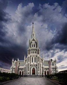 Duch Reformed church in Graaff-Reinet, Eastern Cape province, South Africa. Reproduction of the Salisbury Cathedral . Cathedral Church, Church Building, Place Of Worship, Africa Travel, Kirchen, South Africa, Dutch, Places To Go, Beautiful Places