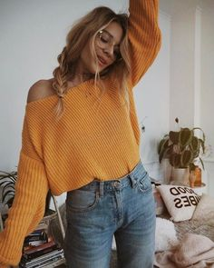 $20 - $50 Cute Summer Spring Orange Baggy Sweater With Simple Blue Denim Jeans And On Trend Fashion Clear Glasses Accessory #Glasses