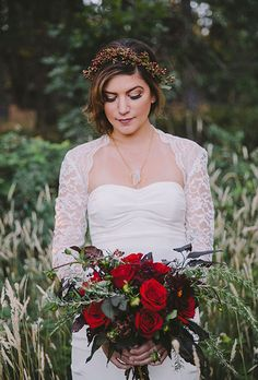 Brides: Classic Red Rose Bouquet with Greenery. A winter wedding bouquet comprised of red roses, rosemary sprigs, and deep-hued greenery, created by Florals by Flory. Wedding Flower Photos, Modern Wedding Flowers, Winter Wedding Flowers, Bridal Flowers, Wedding Colors, Trendy Wedding, Autumn Wedding, Red Bouquet Wedding, Red Rose Bouquet