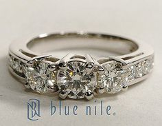 Three Stone Pavé Round Cut Diamond Engagement Ring in Platinum #BlueNile