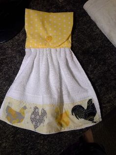 yellow rooster hanging towel by mylittlegirlsshop on Etsy