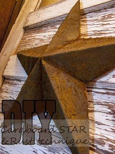 DIY Cardboard Star & Rusting Technique - Deja Vue Designs