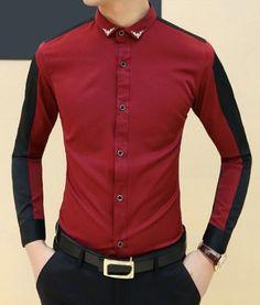 eb4f2cf2a29 Trendy Metal Embellished Turn-down Collar Slimming Color Splicing Long  Sleeves Men s Shirt - WINE