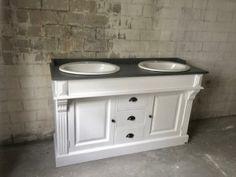 Waschtisch weiß-grau Landhaus, Waschtisch Massivholz, Doppelwaschtisch im Landhausstil
