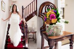 A photojournalistic photograph of a bride walking down the stairs before her colorful and elegant wedding in Boston, Massachusetts Gina Brocker Photography Elegant Wedding, Documentaries, White Dress, Stairs, Wedding Photography, Boston Massachusetts, Bride, Wedding Dresses, Walks